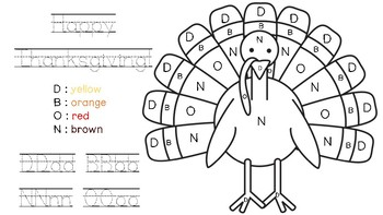 FREEBIE!! Thanksgiving Turkey Color by Letter by Building