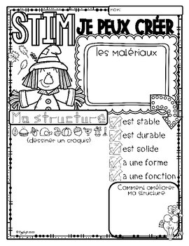 FRENCH Fall Scavenger Hunt and STEM Challenges by Peg