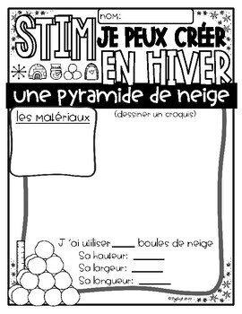 FRENCH Winter Scavenger Hunt and STEM Challenges by Peg