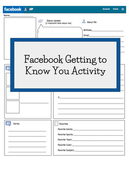 Facebook About Me Worksheet By The Middle School Abyss