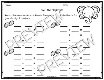 Addition and Subtraction Fact Family Activity Elephants by
