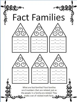 Fact Families/Missing Addend/Open-Ended Worksheets by