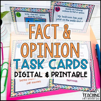Fact And Opinion Task Cards By Teaching With A Mountain