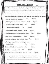 Fact or Opinion Worksheet-2nd Grade by OneStopSTEMShop | TpT