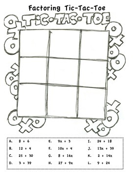 Factoring Expressions Tic Tac Toe Game by Middle Schoolin