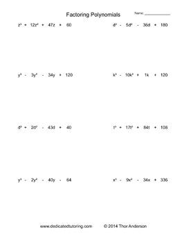 Polynomial Practice Worksheet : polynomial, practice, worksheet, Factoring, Polynomials, Practice, Worksheet, Generator, Mental, Worksheets