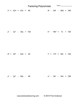 Factoring Polynomials Practice Worksheets By Mental Math Worksheets