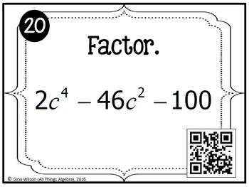 Factoring Polynomials Task Cards (Algebra 2) by All Things