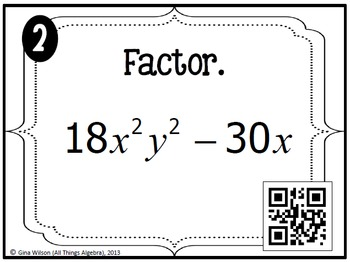 Factoring Polynomials Task Cards (Algebra 1) by All Things