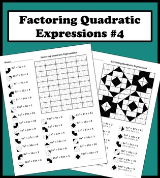 Factoring Quadratic Expressions Color Worksheet 4 By Aric