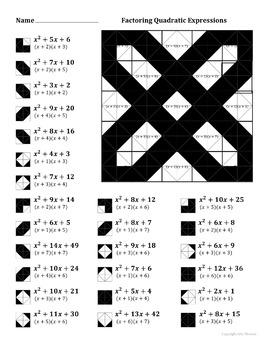 Factoring Quadratic Expressions Color Worksheet Bundle by