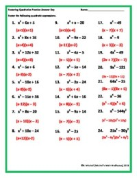 Factoring Quadratic Trinomials Worksheet by Mitchell's ...