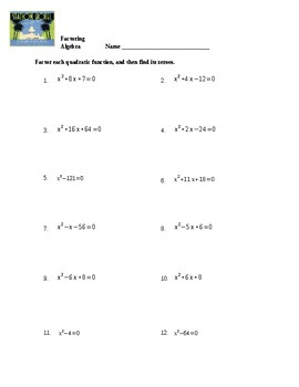 Factoring Quadratics Worksheet by Spiral Your Way Through