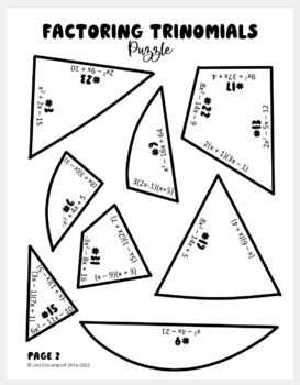 Factoring Trinomials (Heart- Shaped Puzzle) by Lisa