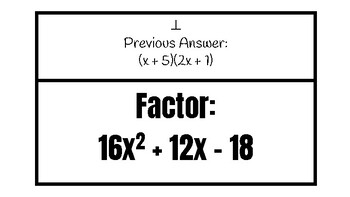 Factoring Trinomials Scavenger Hunt when a≠1 by The Math