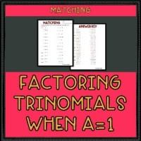 Factoring Trinomials when a = 1 Worksheet by Mr Greenlaw ...