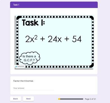 Factoring Quadratics with GCFs Task Cards by Scaffolded