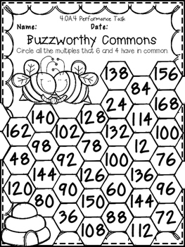 Factors, Multiples, Prime & Composite Numbers 4th Grade