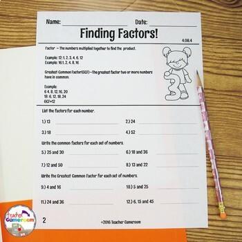 Finding Factors Worksheets