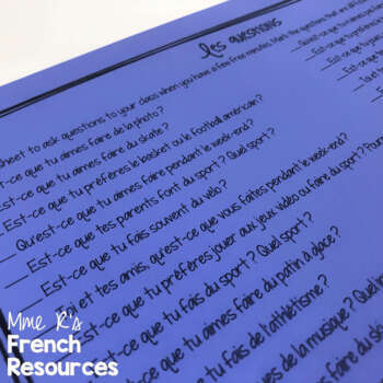 French verbs faire and jouer speaking task cards and