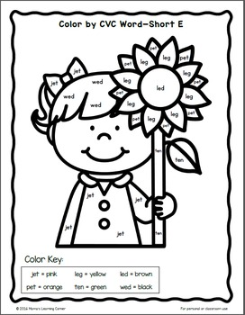 Fall Color By CVC Words Worksheet Packet by Mama's