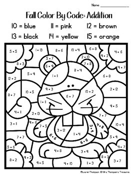 Fall Coloring Pages Color By Code Second Grade by Mrs