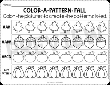 Fall Color-a-Pattern Worksheets FREEBIE by Planning in PJs