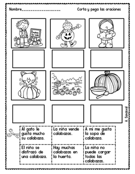 Fall Cut and Paste Sentences in Spanish by Angelica