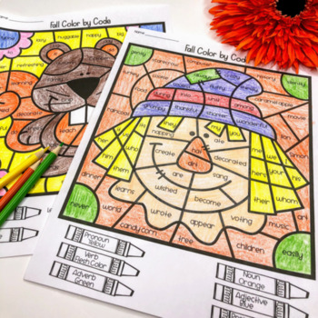 Fall Grammar Coloring Pages Parts of Speech by Love