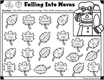 Fall Into Common and Proper Nouns by Bilingual Teacher