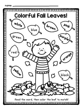 Fall Leaves Color By Sight Word (color words) by Nugget