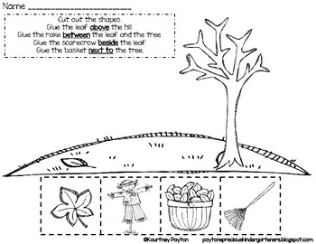Fall Positional Words Worksheet Common Core K.G.1, K.P.1.1