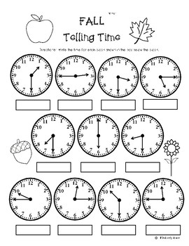 Fall Telling Time (to the quarter hour) Practice Worksheet