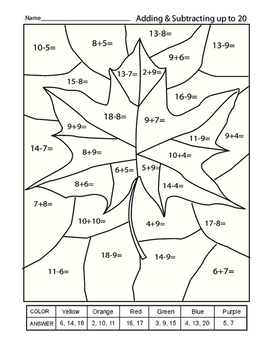 Fall Theme Adding and Subtracing to 20 Math Worksheet by