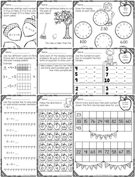 Fall Themed First Grade Math Packet by The Pedagogical