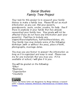 Family Tree Assignment And Parent Letter By Mr Ambrose TpT