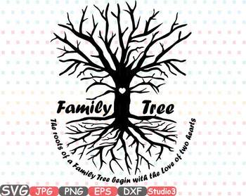 Family Tree Silhouette clipart love two hearts Studio3
