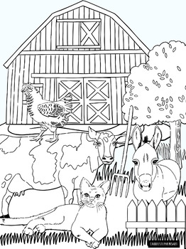 Farm Clipart Black And White : clipart, black, white, Animals, Black, White, Illustrations, ClipArt