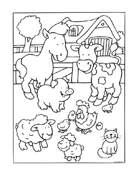 DIFFICULT Farm Animals Word Search and Coloring Page (use