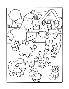 Farm Animals Word Search and Coloring Page (easy) by