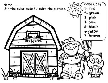 Farm Color by Number Picture and Color Recognition Sheet