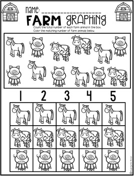 Farm Math and Literacy Worksheets for Preschool by