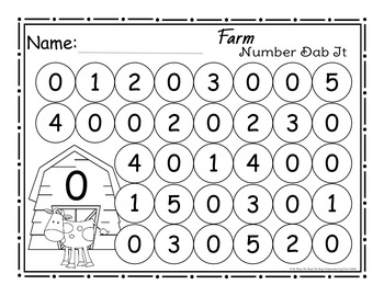 Farm Number (0-25) Dab It Worksheets by Oh Boy Oh Boy Oh