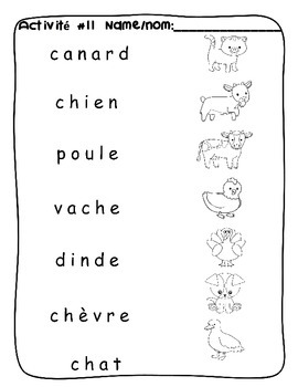 Farm animal / A la ferme FRENCH Worksheets by Vari-Lingual