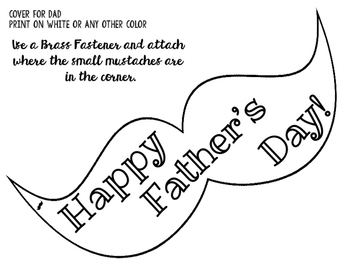 Father's Day Writing Craft Mustache Book by Cute in Second