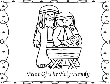 Feast of the Holy Family Mini Book, Coloring Pages and