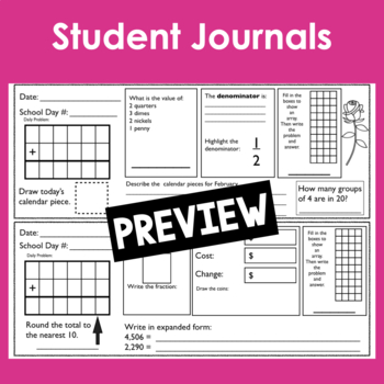 February Calendar Math Student Journal by Creations by Kim