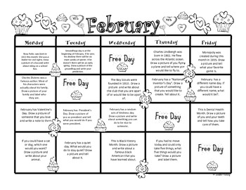 February Kindergarten Writing Prompts and Journal Pages