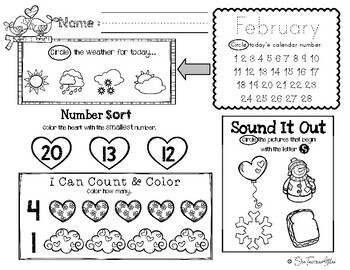 February Daily Literacy & Math Morning Work {Pre-K