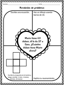 February Math Practice in Spanish for SECOND GRADE by
